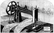 Wilson sewing machine, showing belt drive (left) from treadle, oil can (centre foreground), and spools for thread (right). Engraving published New York, 1880.
