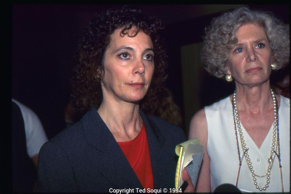 The OJ Simpson trial and media circus.<br /> Prosecutor Marcia Clark.
