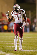Nov 5, 2011; Fayetteville, AR, USA;  South Carolina wide receiver Alshon Jeffery (1) lines up for a play during a game against the Arkansas Razorbacks at Donald W. Reynolds Stadium.  Mandatory Credit: Beth Hall-US PRESSWIRE