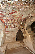 """Pictures & images of the interior frescoes of the  Comlekci Church,  10th century, the Vadisi Monastery Valley, """"Manastır Vadisi"""",  of the Ihlara Valley, Guzelyurt , Aksaray Province, Turkey.<br /> <br /> Comlekci Church is a Roman Byzantine church dating from the 10th century. the south section of the roof frescoes depict the Evangel, Christmas and the adoration of the magi. The northern panel frescoes depict Christ and the Cross. .<br /> <br /> If you prefer to buy from our ALAMY PHOTO LIBRARY  Collection visit : https://www.alamy.com/portfolio/paul-williams-funkystock/vadisi-monastery-valley-turkey.html<br /> <br /> Visit our TURKEY PHOTO COLLECTIONS for more photos to download or buy as wall art prints https://funkystock.photoshelter.com/gallery-collection/3f-Pictures-of-Turkey-Turkey-Photos-Images-Fotos/C0000U.hJWkZxAbg"""