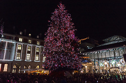 © Licensed to London News Pictures. 13/11/2018. London, UK. A lit-up Christmas tree are part of the Covent Garden Market Christmas lights. Photo credit: Ray Tang/LNP