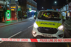 © Licensed to London News Pictures. 05/02/2020. London, UK. A police van forms a cordon after the Metropolitan Police Service was called to Kingsley Rd in Hounslow at 19:23GMT on Tuesday 4th Feb to reports of a fight. A 19-year-old man then self-presented at a hospital with stab injuries. One person has been arrested. Photo credit: Peter Manning/LNP