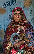 Tribal woman on market day, Eastern Rajasthan, near Silwah