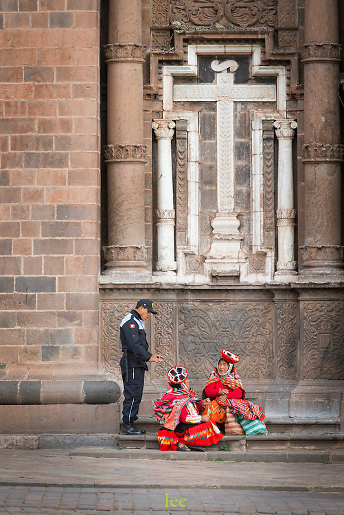 Policeman in the Plaza de Armas, Cusco, Peru, South America