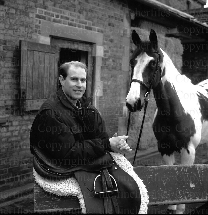 The Earl of Wessex Prince Edward seen with his horse 'Tinkerebell' at the royal stables at Windsor Castle. Photographed by Jayne Fincher