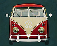 Front view of a Volkswagen bus from 1963.<br /> The VW bus has served both company traffic and many families; The Volkswagen bus is also the icon par excellence for hippie culture and carefree travel. <br /> -<br /> BUY THIS PRINT AT<br /> <br /> FINE ART AMERICA<br /> ENGLISH<br /> https://janke.pixels.com/featured/volkswagen-combi-deluxe-1963-frontal-view-jan-keteleer.html<br /> <br /> WADM / OH MY PRINTS<br /> DUTCH / FRENCH / GERMAN<br /> https://www.werkaandemuur.nl/nl/werk/Volkswagen-Combi-Deluxe-1963-vooraanzicht/589699/134<br /> <br /> -