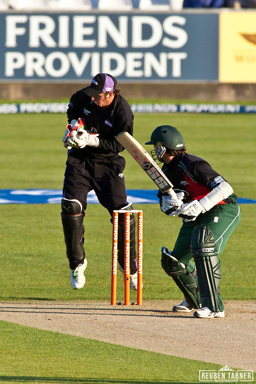 The safe hands of PHil Mustard, Durham Dynamos Wicket keeper put to an end James Benning's innings for Leicestershire Foxes.