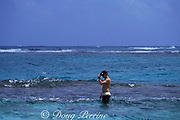 snorkeler standing on coral reef<br /> Cancun, Mexico ( Caribbean Sea )