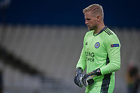 ATHENS, GREECE - OCTOBER 29: Kasper Schmeichelof Leicester City during the UEFA Europa League Group G stage match between AEK Athens and Leicester City at Athens Olympic Stadium on October 29, 2020 in Athens, Greece. (Photo by MB Media)