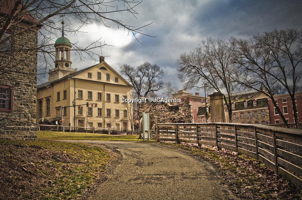 Winding path to Historic Moravian Church Bethlehem Pennsylvania Lehigh Valley