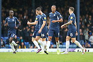 Southend United midfielder Timothee Dieng (8) celebrating after scoring goal during the EFL Sky Bet League 1 match between Southend United and AFC Wimbledon at Roots Hall, Southend, England on 12 October 2019.