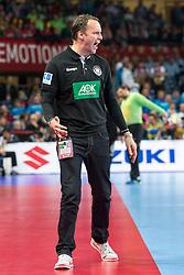 16.01.2016, Hala Stulecia, Breslau, POL, EHF Euro 2016, Spanien vs Deutschland, Gruppe C, im Bild Dagur Valdimar Sigurdsson (Trainer) // during the 2016 EHF Euro group C match between Spain and Germany at the Hala Stulecia in Breslau, Poland on 2016/01/16. EXPA Pictures © 2016, PhotoCredit: EXPA/ Eibner-Pressefoto/ Koenig<br /> <br /> *****ATTENTION - OUT of GER*****
