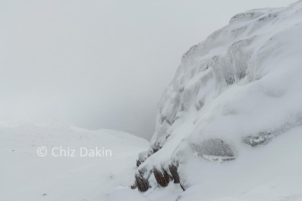 Frost-rimed rocks on Eskdale Pike summit