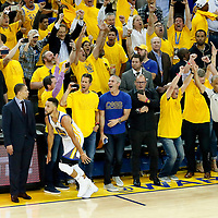 12 June 2017: Golden State Warriors guard Stephen Curry (30) celebrates during the Golden State Warriors 129-120 victory over the Cleveland Cavaliers, in game 5 of the 2017 NBA Finals, at the Oracle Arena, Oakland, California, USA.