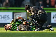 Forest Green Rovers physio Joe Baker trans Forest Green Rovers Josh March(28) during the EFL Sky Bet League 2 match between Forest Green Rovers and Salford City at the New Lawn, Forest Green, United Kingdom on 18 January 2020.