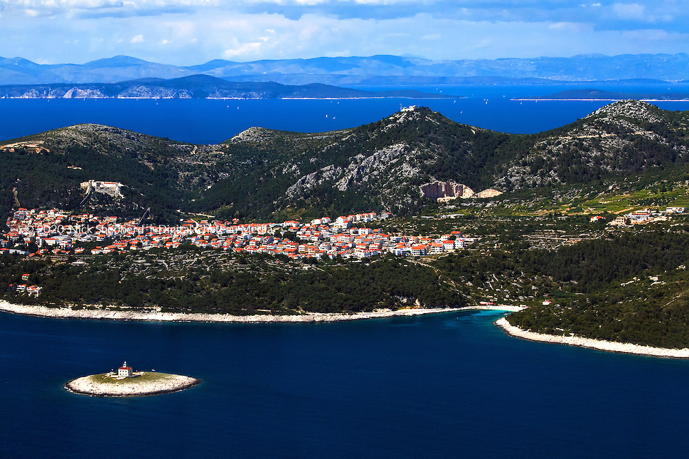 Aerial photograph of Hvar and Split, Croatia.