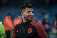 SergioAgüero (Manchester City) warms up before the Champions League match between Manchester City and Celtic at the Etihad Stadium, Manchester, England on 6 December 2016. Photo by Mark P Doherty.