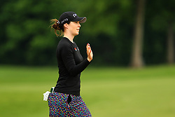 May 26, 2018 - Ann Arbor, Michigan, United States - Brittany Altomare of the United States greets the crowd after making her putt on the 5th green during the third round of the LPGA Volvik Championship at Travis Pointe Country Club, Ann Arbor, MI, USA Saturday, May 26, 2018. (Credit Image: © Amy Lemus/NurPhoto via ZUMA Press)