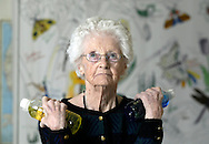 Times Herald-Record/TOM BUSHEY.Times Herald-Record/TOM BUSHEY.Catherine Scott, 97, does bicep curls with water bottles at Schervier Pavilion in Warwick..March 22, 2004. GO HEALTHY STORY BY BETH QUINN.