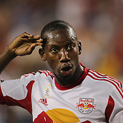 Bradley Wright-Phillips, New York Red Bulls, celebrates after scoring from the penalty spot during the New York Red Bulls Vs Seattle Sounders, Major League Soccer regular season match at Red Bull Arena, Harrison, New Jersey. USA. 20th September 2014. Photo Tim Clayton