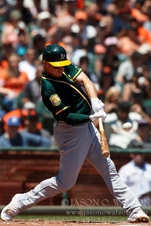 SAN FRANCISCO, CA - JULY 15: Matt Chapman #26 of the Oakland Athletics at bat against the San Francisco Giants during the second inning at AT&T Park on July 15, 2018 in San Francisco, California. The Oakland Athletics defeated the San Francisco Giants 6-2. (Photo by Jason O. Watson/Getty Images) *** Local Caption *** Matt Chapman