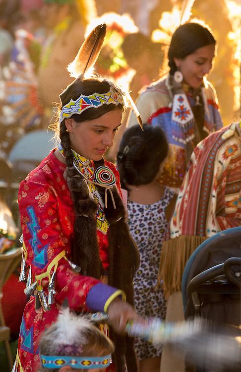 Native American women at the Tamkaliks pow wow in Wallowa, Oregon.