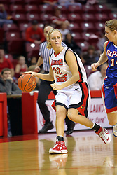 25 November 2007: Maggie Krick cuts to the inside passing Allie Quigley.The DePaul Blue Demons defeated the Illinois State Redbirds 80-75 on Doug Collins Court at Redbird Arena in Normal Illinois
