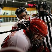 Stefan Georgiev, Bulgaria (left) and Ogun Uzunali, Turkey received penalties for roughing during the Turkey V Bukgaria match during the 2012 IIHF Ice Hockey World Championships Division 3 held at Dunedin Ice Stadium. Dunedin, Otago, New Zealand. 21st January 2012. Photo Tim Clayton