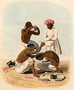 Indian barber. In the foreground a barber is shaving the head of a client.  Standing on the left a Sepoy, whose uniform is on the ground beside him,  is plucking his eyebrows with the aid of tweezers and a mirror. Standing on the right another barber is gossipping, holding the implements of his trade wrapped in a cloth which he carries in front of him. Hand coloured lithograph from 'Oriental Drawings' by  Charles Gold (London, 1806).
