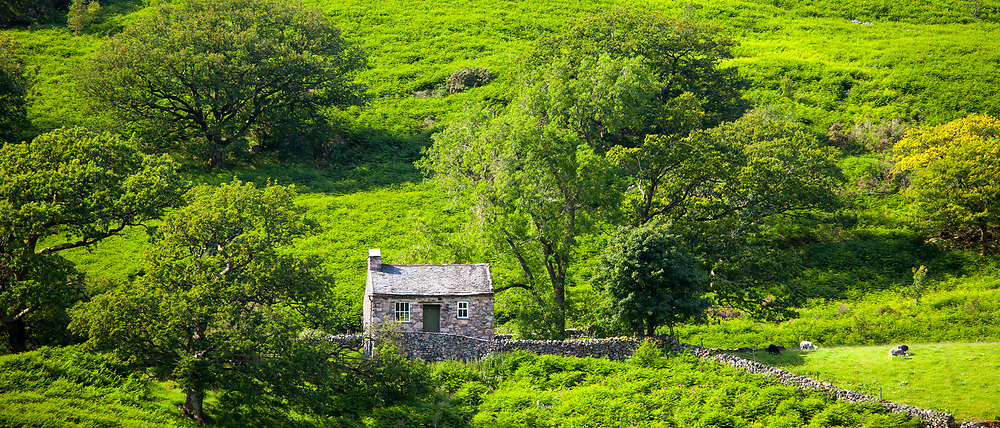 Stone cottage in Hard Knott Pass near Eskdale in the Lake District National Park, Cumbria, UK