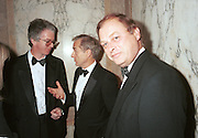 Peter Stoddart, Harry Evans, Anthony Holden.Royal Court Theatre 40th Anniversary Gala. Porchester Hall, London.31/10/96. Film 96707f37<br />© Copyright Photograph by Dafydd Jones<br />66 Stockwell Park Rd. London SW9 0DA<br />Tel 0171 733 0108