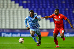 Fankaty Dabo of Coventry City and Birmingham City's Jeremie Bela tussle for the ball - Mandatory by-line: Nick Browning/JMP - 20/11/2020 - FOOTBALL - St Andrews - Birmingham, England - Coventry City v Birmingham City - Sky Bet Championship