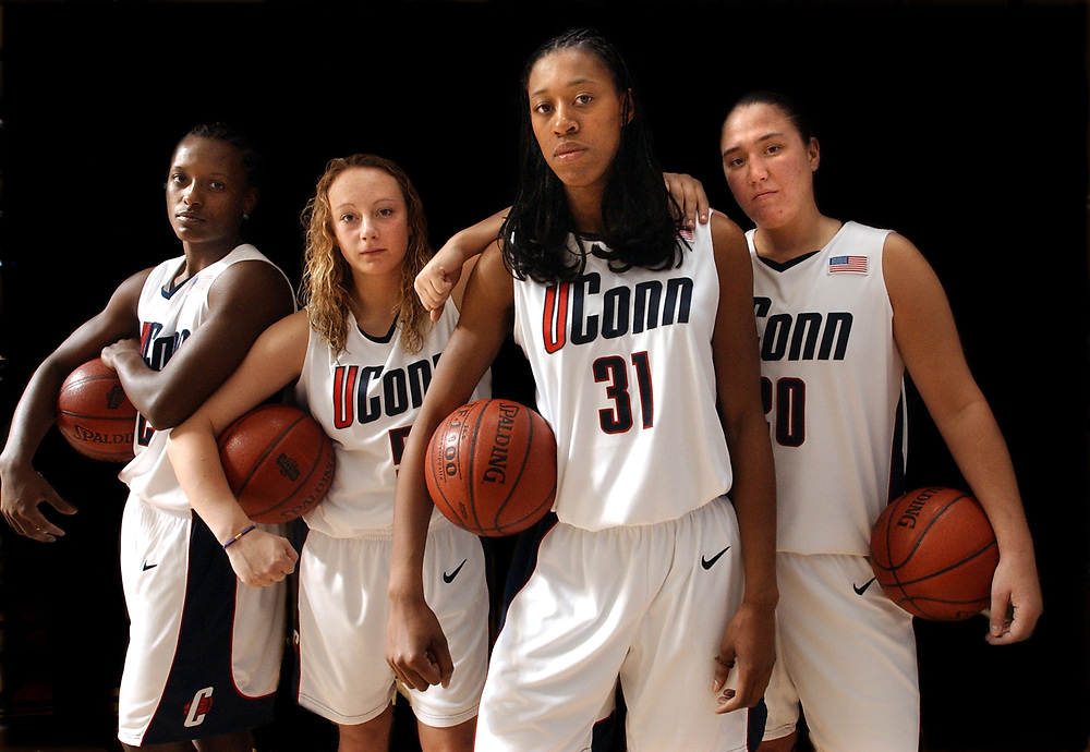 Spt11/3/02  Photo by Mara Lavitt-4 Hoopsters portrait<br /> ML0036C #1138<br /> Four UConn women hoopsters left to right:  Ashley Battle, Maria Conlon, Jessica Moore, and Morgan Valley.