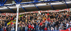 Liverpool, England - Saturday, October 20, 2007: Liverpool's fans tease the Everton fans a banner that reads 'One City, One Club, One Name Liverpool' before the 206th Merseyside Derby match against Everton at Goodison Park. (Photo by David Rawcliffe/Propaganda)