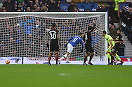 Kevin Mirallas of Everton puts the ball into the back of the net  to 'score' a goal but is judged to be offside. Premier league match, Everton v Manchester City at Goodison Park in Liverpool, Merseyside on Sunday 15th January 2017.<br /> pic by Chris Stading, Andrew Orchard sports photography.