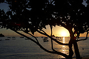 View of the sunset from Corossol Beach of Gustavia port, St. Barthelemy, FWI