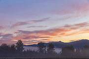 Fog hangs low over the East Fork Kimball Creek, hidden behind the trees, as the rising sun colors the clouds over the hills bordering Snoqualmie, Washington.