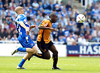 Photo. Chris Ratcliffe<br /> Reading v Wolverhampton Wanderers. Coca Cola Championship. 30/04/2005<br /> James Harper of Reading and Rohan Ricketts of Wolves battle it out
