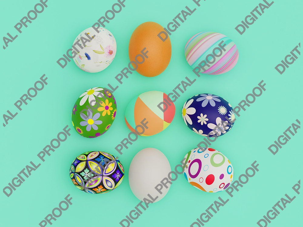 Easter Eggs with beautiful pattern and color viewed from above for a flatlay concept - 3D Rendering Concept