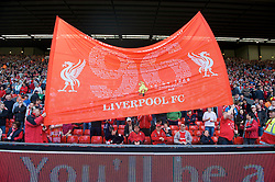 LIVERPOOL, ENGLAND - Saturday, April 11, 2009: Liverpool's supporters hold aloft a banner remembering the 96 fans who lost their lives at the Hillsborough Stadium Disaster twenty years ago on April 15, 1989. (Photo by: David Rawcliffe/Propaganda)