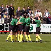 SV Huizen - Bennekom, SV Huizen kampioen hoofdklasse B zaterdagamateurs, juichen doelpunt
