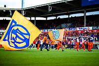 1. divisjon fotball 2018: Aalesund - Levanger (4-0). Supportere og flagg i kampen i 1. divisjon i fotball mellom Aalesund og Levanger på Color Line Stadion.