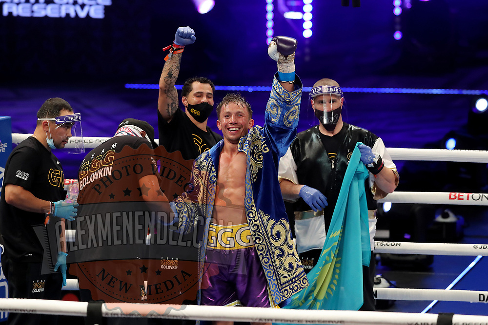 Gennady Golovkin of Khazakhstan celebrates after defeating Kamil Szeremeta of Poland during the IBF middleweight world title fight at the Seminole Hard Rock Hotel and Casino in Hollywood, Florida USA on 18, Dec 2020. Photo: Alex Menendez