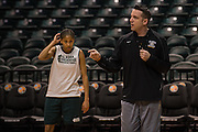 April 2, 2016; Indianapolis, Ind.; UAA head coach Ryan McCarthy gives his team instructions during their practice session at Bankers Life Fieldhouse.