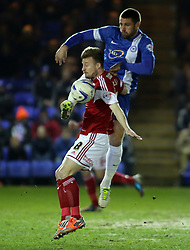 Peterborough United's Michael Bostwick battles with Bristol City's Wade Elliott - Photo mandatory by-line: Joe Dent/JMP - Mobile: 07966 386802 11/03/2014 - SPORT - FOOTBALL - Peterborough - London Road Stadium - Peterborough United v Bristol City - Sky Bet League One