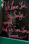 As the number of people dying with Covid-19 in hospitals in England rises by another 665 to 16,272, and the UK experiences further lockdown by the UK government due to the Coronavirus pandemic, an optimistic morale-boosting message has been left on the windows of Le Garrick, a French restaurant near Covent Garden, on 22nd April 2020, in London, England.