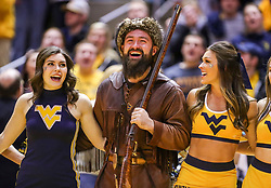 Mar 6, 2019; Morgantown, WV, USA; The West Virginia Mountaineers mascot celebrates after beating the Iowa State Cyclones at WVU Coliseum. Mandatory Credit: Ben Queen-USA TODAY Sports