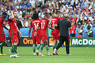 Portugal Forward Cristiano Ronaldo walks off injured during the Euro 2016 final between Portugal and France at Stade de France, Saint-Denis, Paris, France on 10 July 2016. Photo by Phil Duncan.