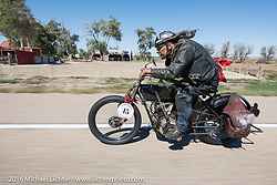 Jon Szalay of New Jersey riding his 1913 Thor motorcycle through the eastern plains of Colorado during the Motorcycle Cannonball Race of the Century. Stage-9 Dodge City, KS to Pueblo, CO. USA. Monday September 19, 2016. Photography ©2016 Michael Lichter
