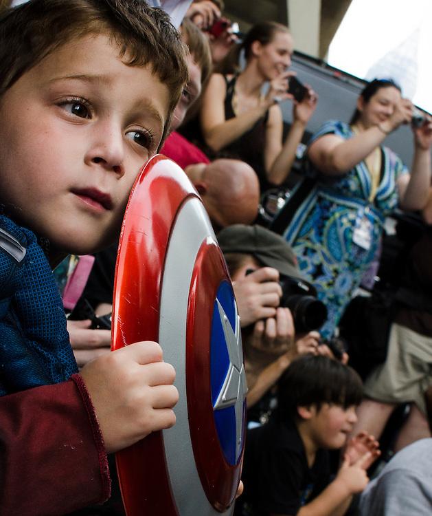 A child watches the Dragon Con parade in Atlanta, GA.